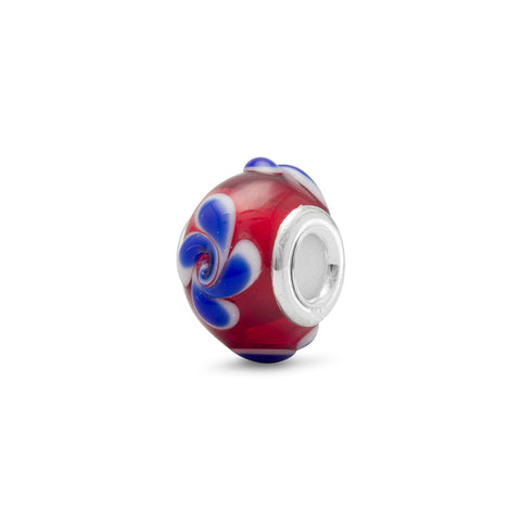 Red Glass Bead with Blue Swirl Design