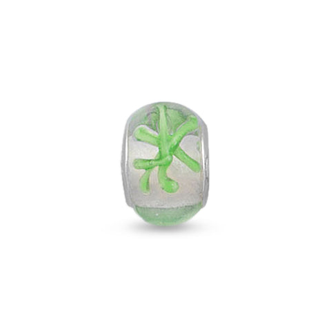 Clear Glass Bead with Green Abstract Design