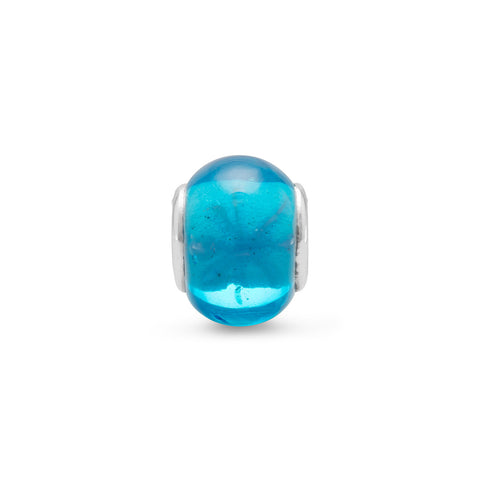 Aqua Glass Bead with Flower Design