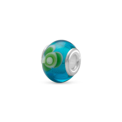 Aqua Glass Bead with Green and White Floral Design