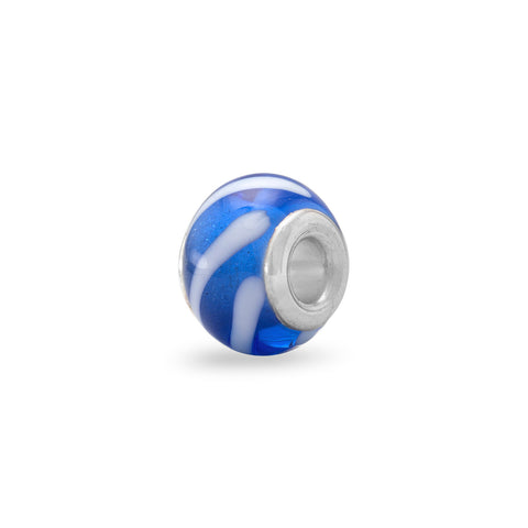 Dark Blue Glass Bead with White Lines