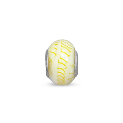 White Glass Bead with Yellow Design