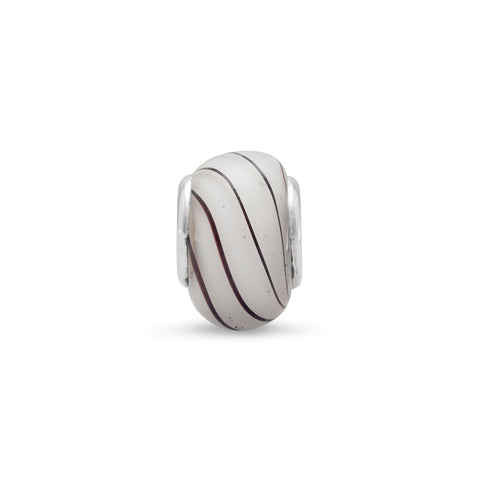 White Glass Bead with Black Lines