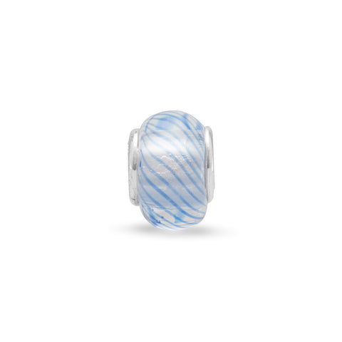 Clear Glass Bead with Dark Blue Lines