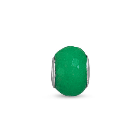 Faceted Green Dyed Jade Bead