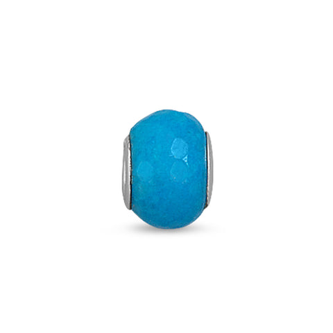 Faceted Blue Dyed Jade Bead