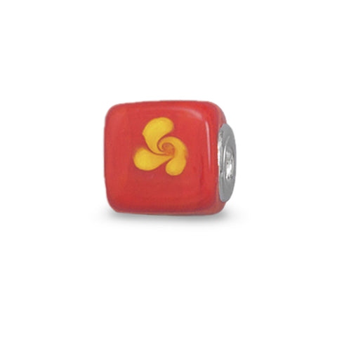 Orange and Yellow Glass Cube Bead