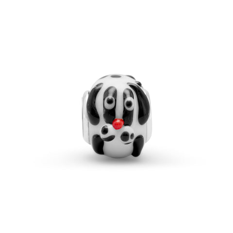 Black and White Dog Bead