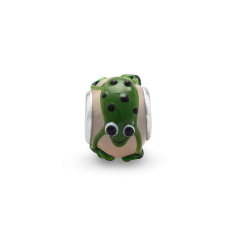 Light Pink and Green Frog Bead