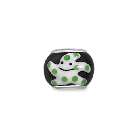 Black, White and Green Starfish Bead