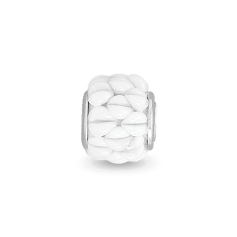 White Textured Glass Bead