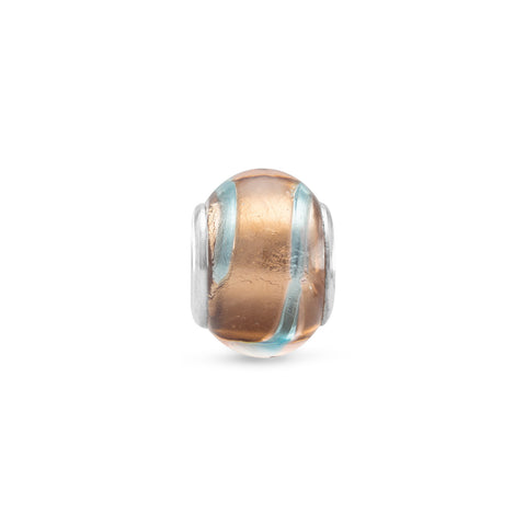 Foil Glass Bead with Multicolored Stripes
