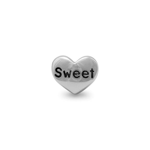 "Oxidized Heart Shaped Bead with ""Sweet"""