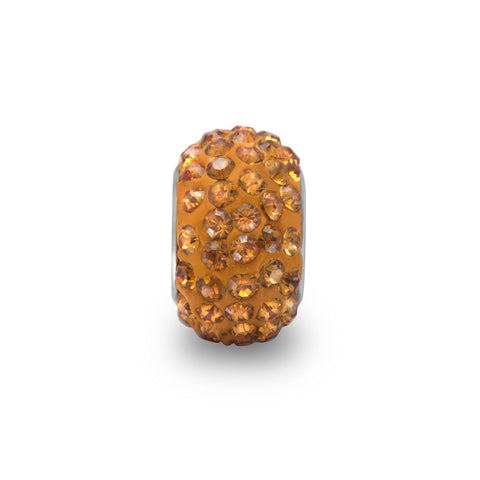 Dark Yellow Pave Crystal Bead