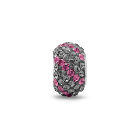 Grey and Pink Crystal Bead