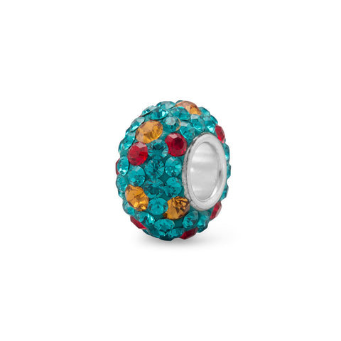 Teal, Red and Orange Crystal Bead