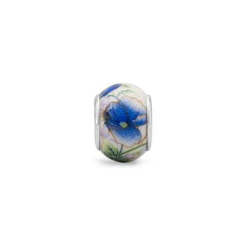 Blue Flower Ceramic Bead