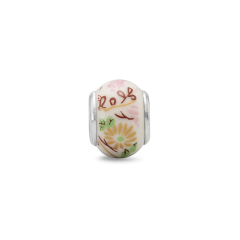 Yellow Flower Ceramic Bead