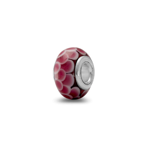 Pink Snakeskin Style Glass Bead