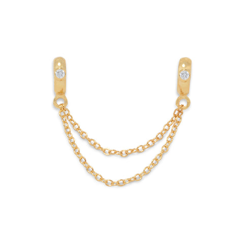 14 Karat Gold Plated Double Bead with Chain and CZ