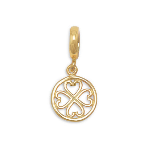 14 Karat Gold Plated Bead with Cut Out Heart Charm