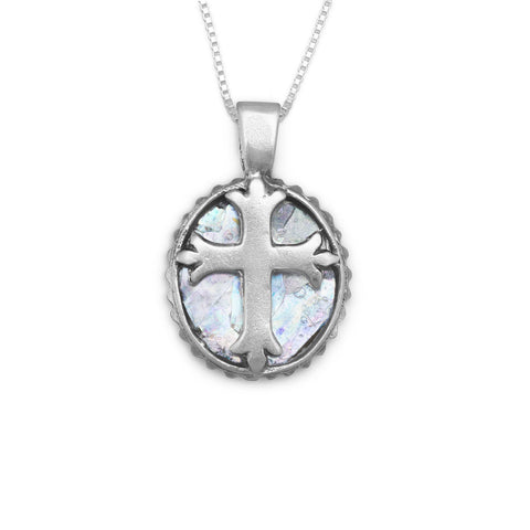 LND .925 Sterling Silver 18 Oval Roman Glass Cross Womens Necklace