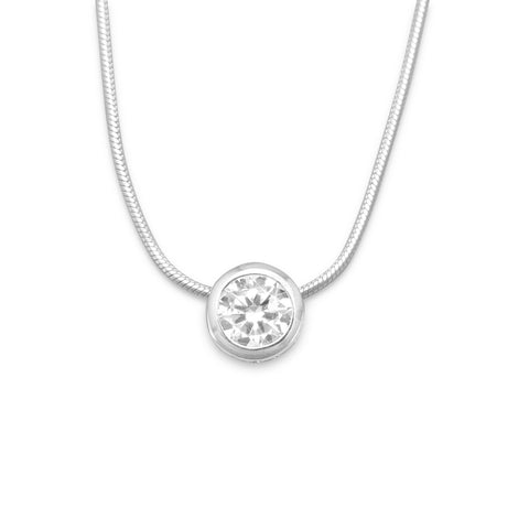 "16"" Necklace with 7mm Bezel Set CZ Slide"