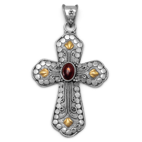 Two Tone Cross with Baltic Amber Center