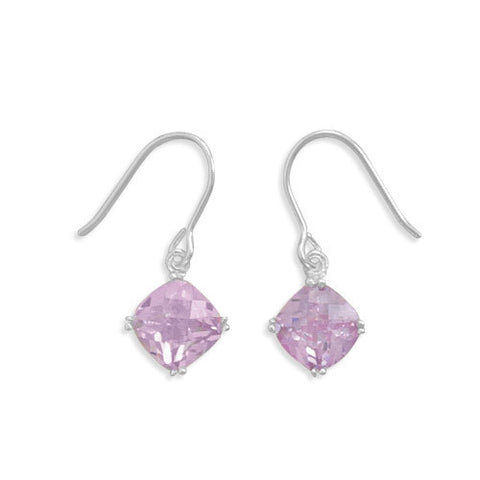 Checkerboard Cut Lavender CZ Earrings