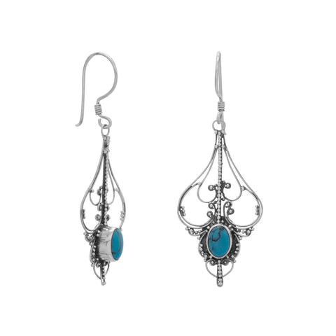 Oval Reconstituted Turquoise Cut Out Design Earrings