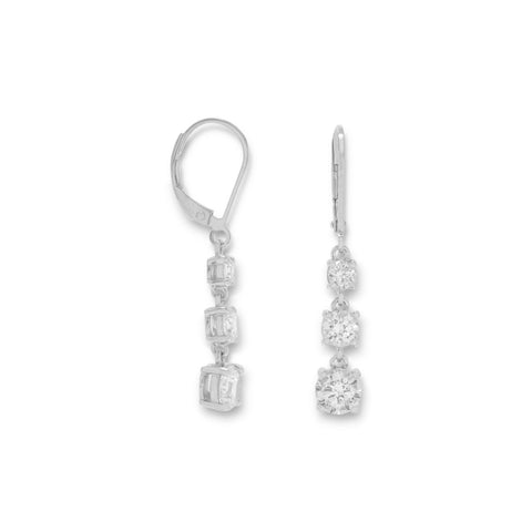 Rhodium Plated Triple CZ Drop Earrings on Lever Back