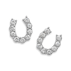 Rhodium Plated CZ Horseshoe Post Earrings
