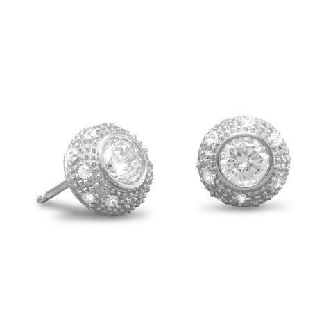 Rhodium Plated 6mm Round CZ/Pave Side Post Earrings