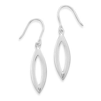 Small Polished Open Marquise Shape Earrings on French Wire