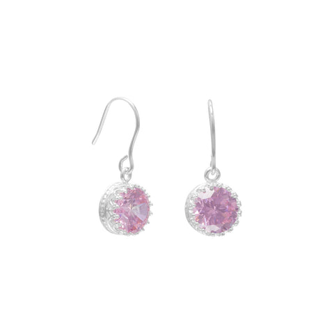 Round Pink CZ French Wire Earrings