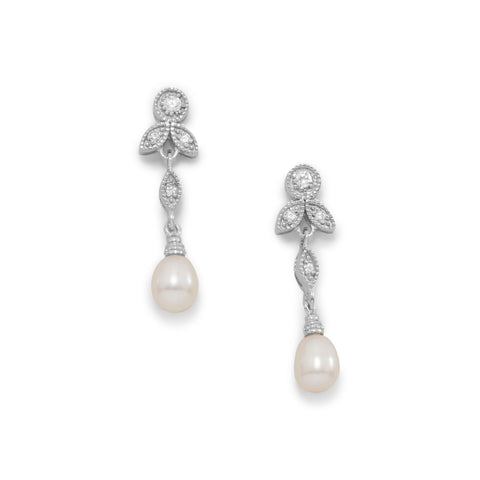 Rhodium Plated CZ and White Cultured Freshwater Pearl Earrings