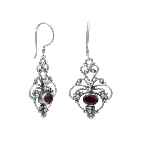 Oxidized Ornate Garnet Earrings