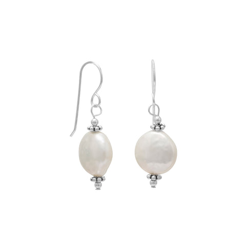 12mm Cultured Freshwater Coin Pearl with Bali Bead Earrings