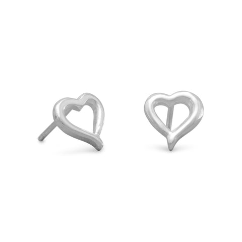 Small Open Heart Post Earrings