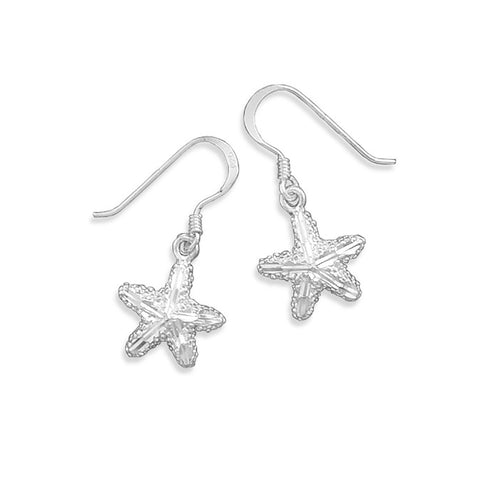 Diamond Cut Starfish Earrings on French Wire
