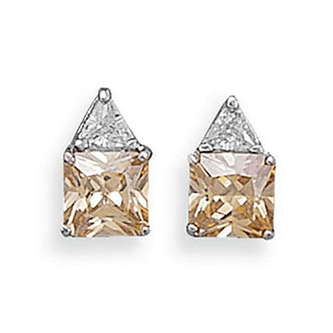 Rhodium Plated Clear and Champagne CZ Post Earrings