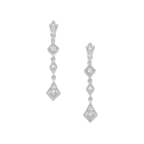 Rhodium Plated Post Drop CZ Earrings