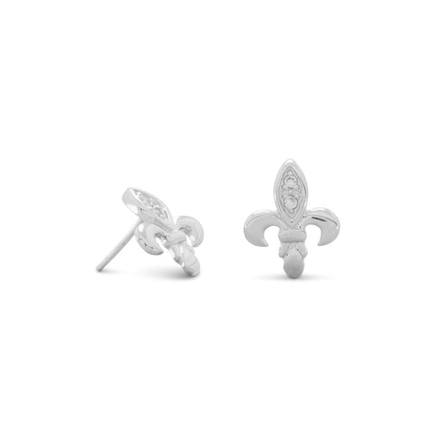Rhodium Plated Fleur de Lis CZ Post Earrings