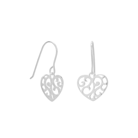 Cut Out Heart French Wire Earrings