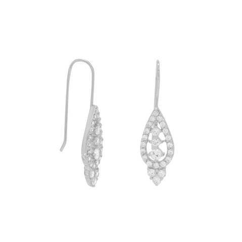 Rhodium Plated CZ Earrings on French Wire