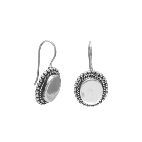 Oval Engravable Earrings with Bead Edge