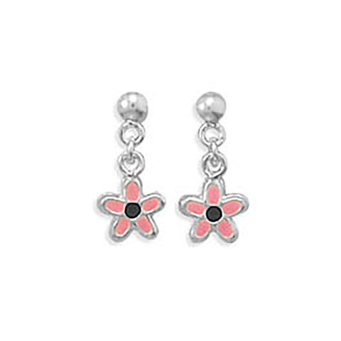 Pink and Black Enamel Flower Earrings