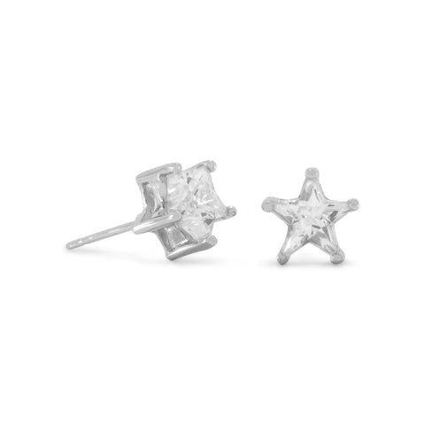 Rhodium Plated CZ Star Earrings