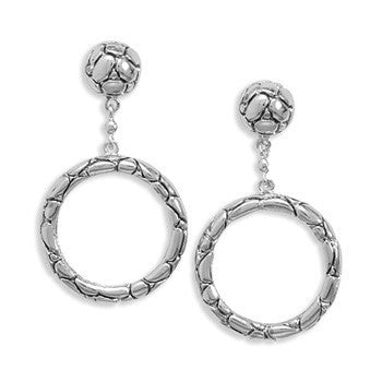 Rhodium Plated Oxidized Cobblestone Drop Earrings