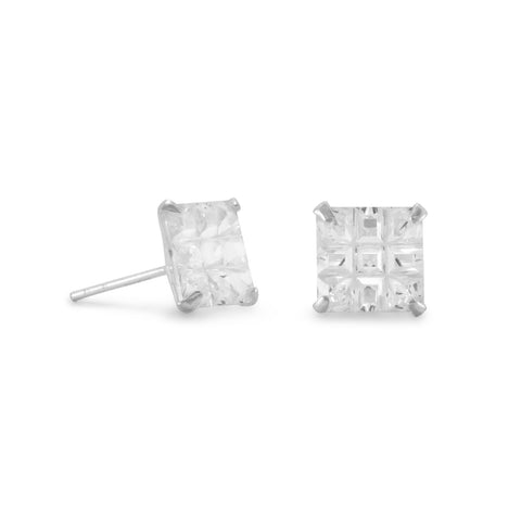 "8mm Square CZ ""9 Cut"" Design Earrings"